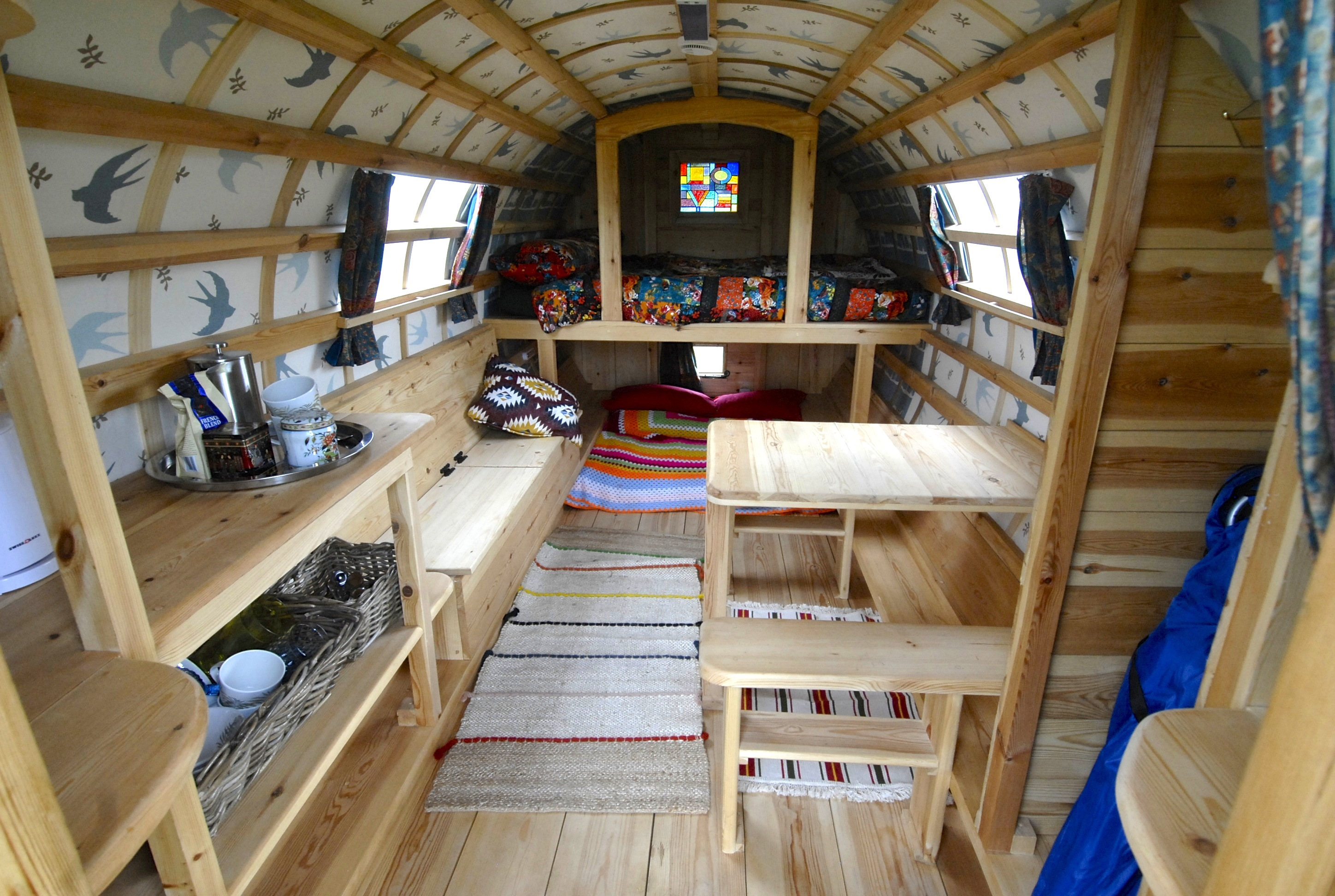 Interior of Frida - Gypsy Caravan Hire