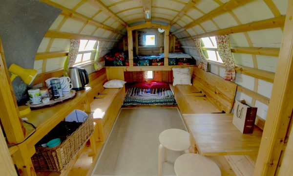 Interior of Bluebell - Gypsy caravan for hire