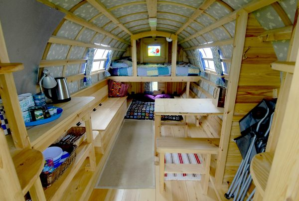 Interior of Indigo - Gypsy caravan for hire