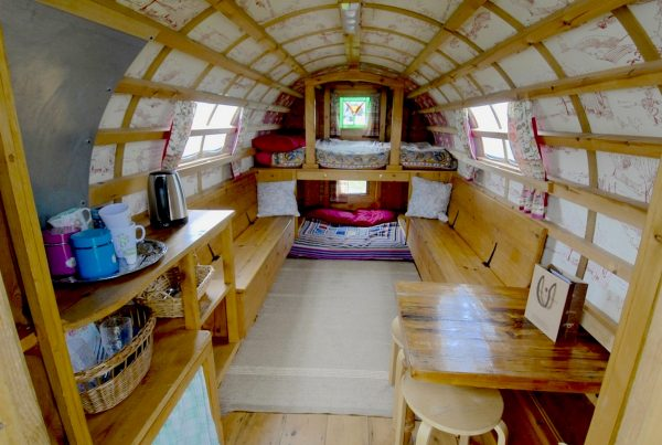 Interior of Ruby - Gypsy caravan for hire