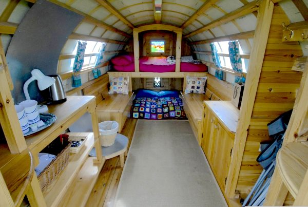 Interior of Ziggy - Gypsy caravan for hire